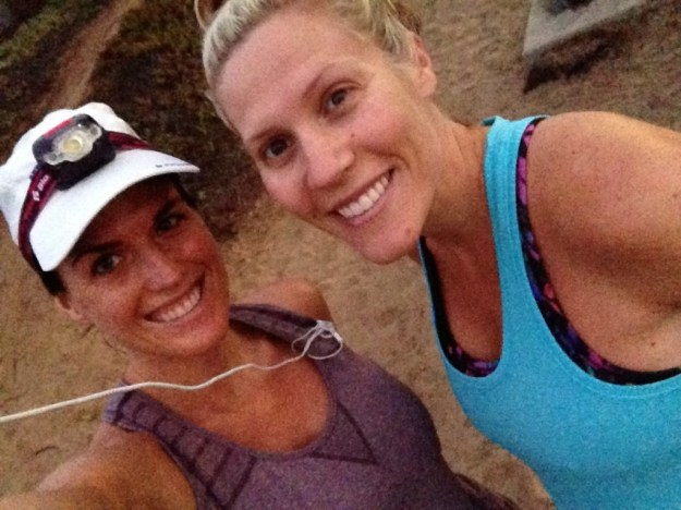 Allison and I rocking our runs. She's killing it at 30 weeks pregnant!