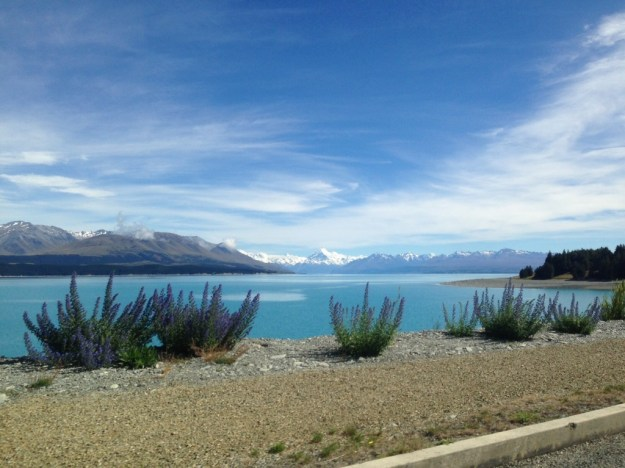 Mt. Cook in the distance - from the car as we drove away