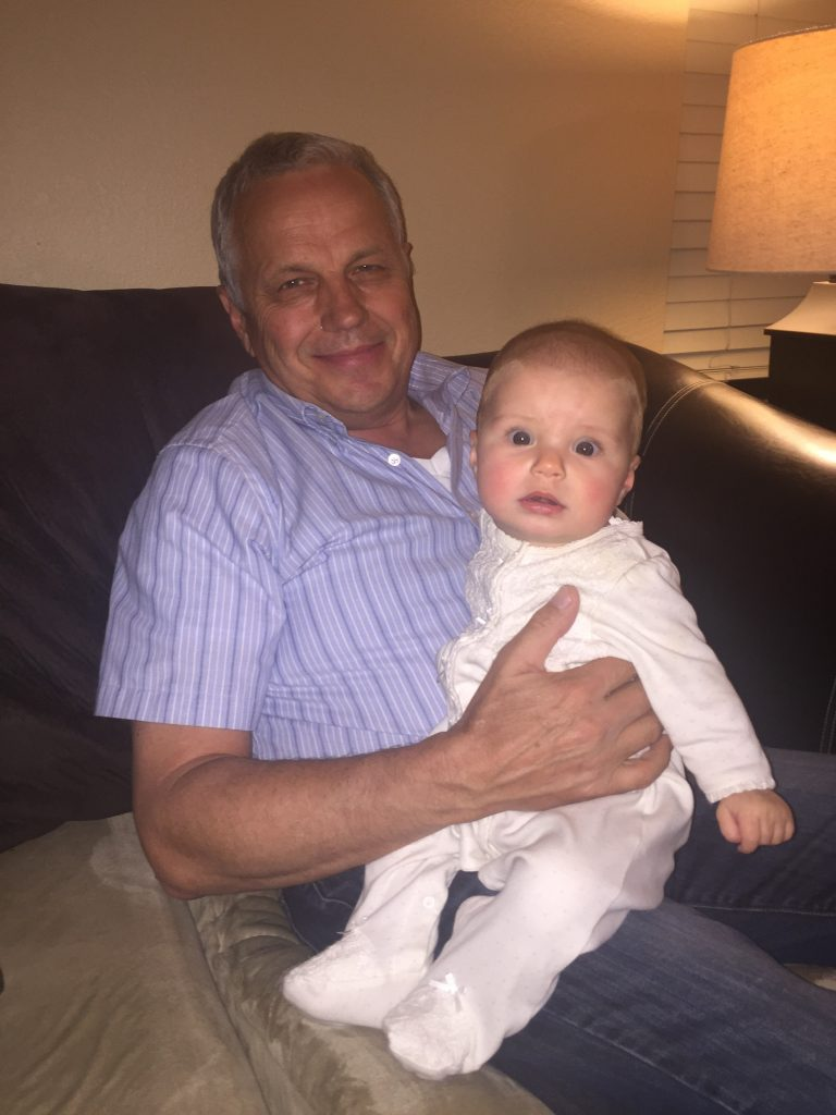With Grandpa Woyski (and wondering what the heck that flash is!)