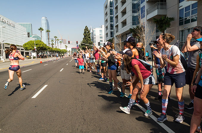 Cheering at the Marathon Olympic Trials in February (source)