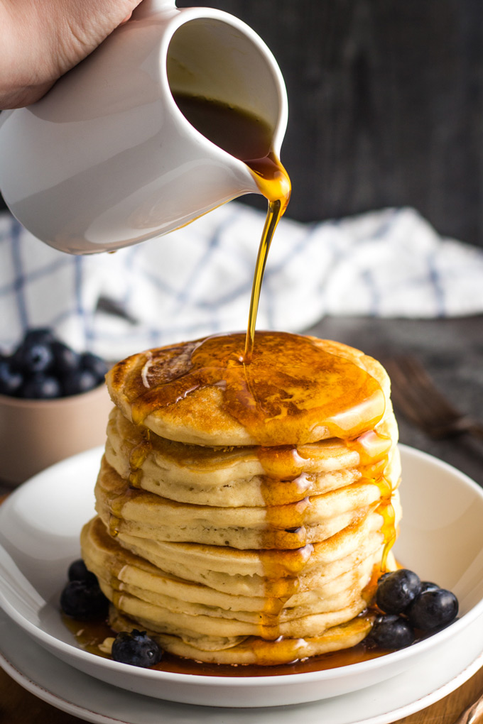 fluffy pancakes in a glass bowl