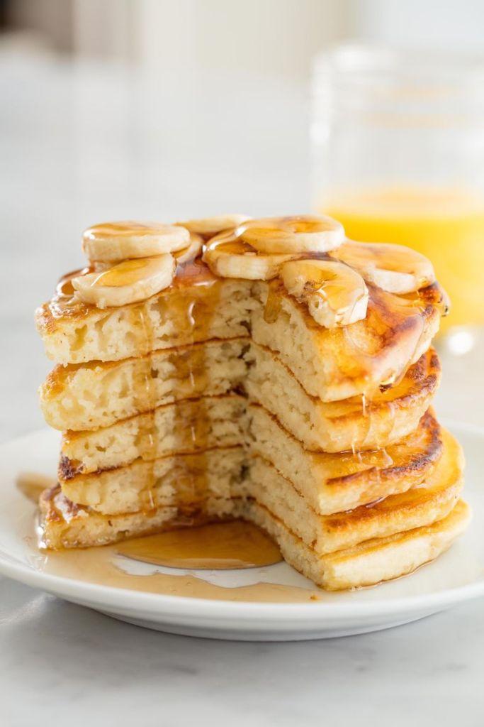 fluffy vegan pancakes on a plate