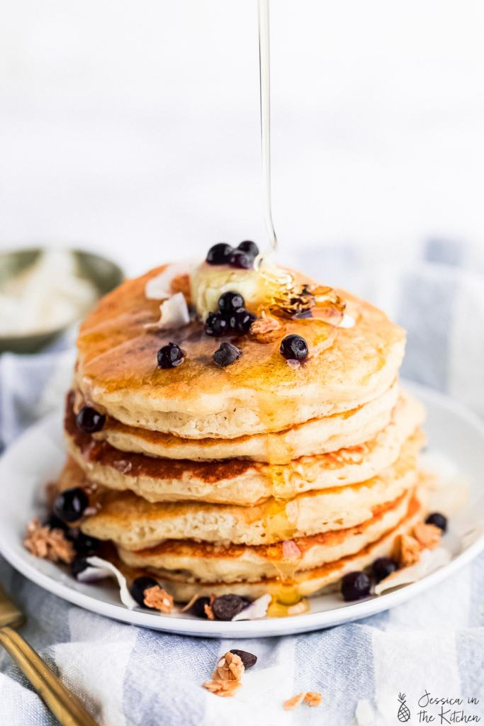 light and fluffy vegan pancakes on a plate