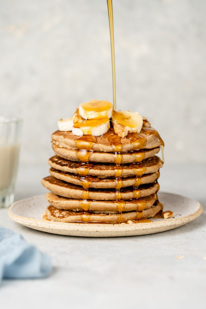 gluten free vegan pancakes on a plate