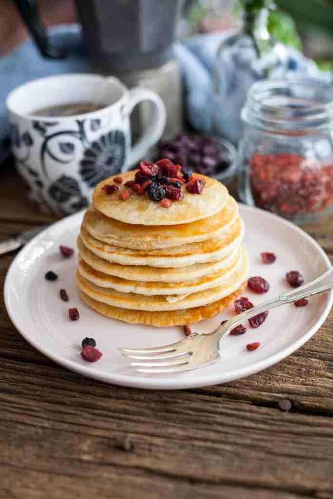 Easy vegan pancakes on wooden counter