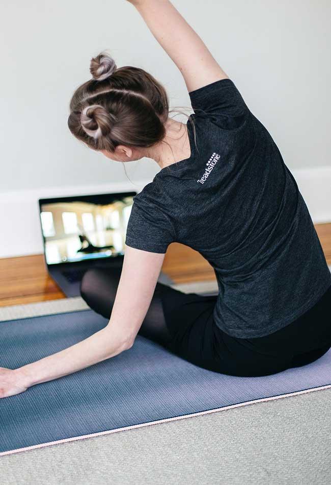 Karishea doing yoga fitness on fitness mat
