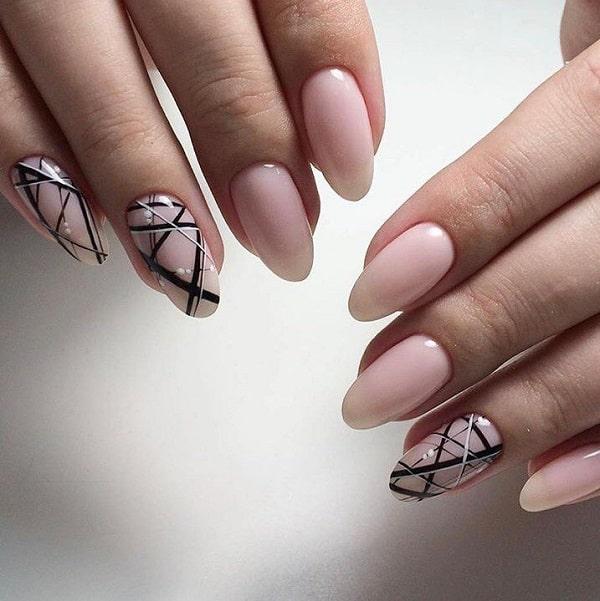 Monochrome Geometric Nail Art