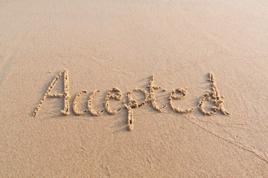 Accepted writen by hand in sand on the beach