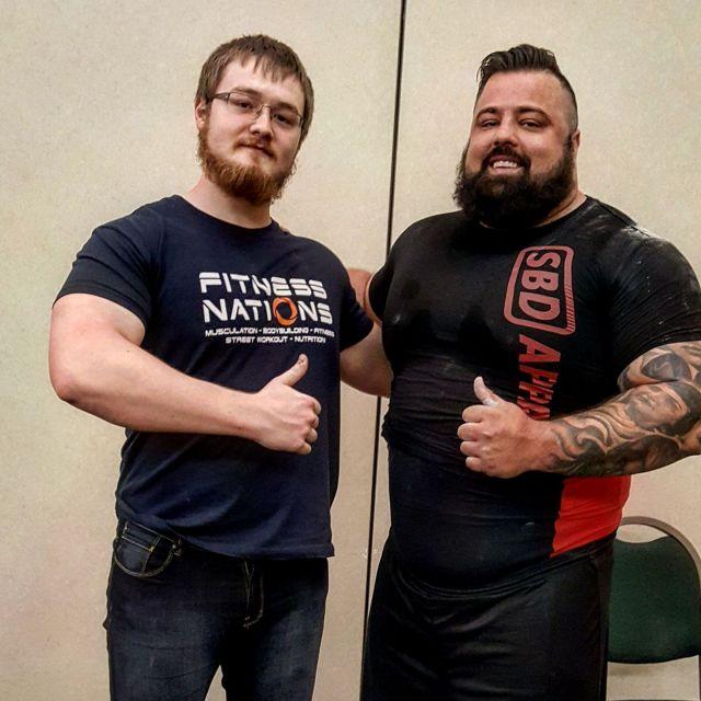 Antoine en compagnie de Branton Kelly, champion du monde catégorie +120kg, à Killeen, 2017