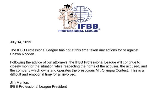 Courrier de l'IFBB sur l'affaire Rhoden