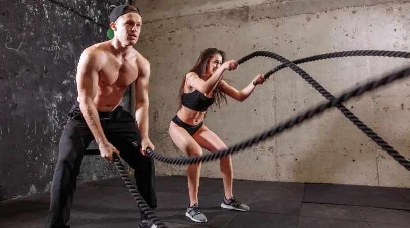 man woman working out