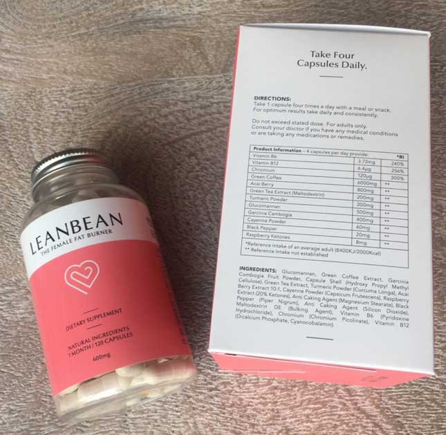 Leanbean ingredients lable