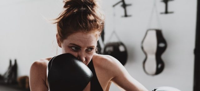 a girl boxing