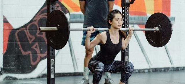 A girl lifting weights