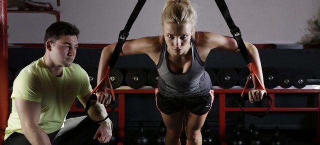 A woman at her personal trainer