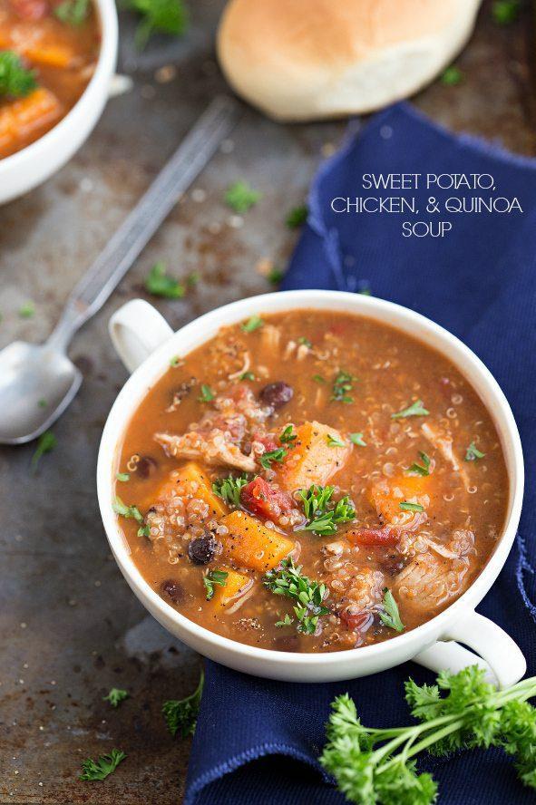 Sweet Potatoe Chicken Quinoa Soup - Chelsea's Messy Apron
