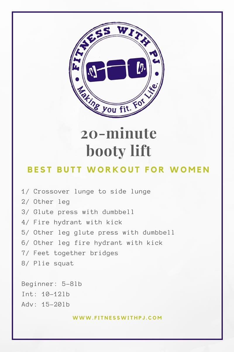 20-Min Booty Lift Workout- Best Glute exercises for women