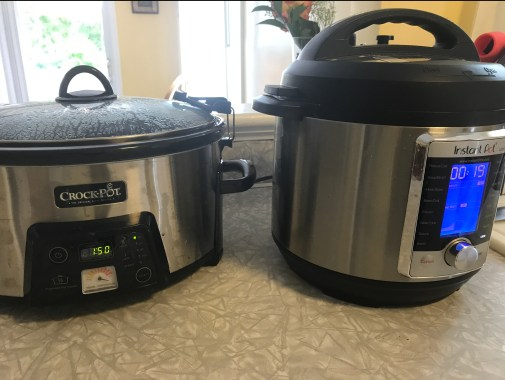 crock pot and instant pot side by side