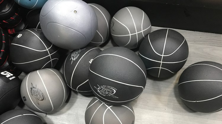 fitness balls piled up