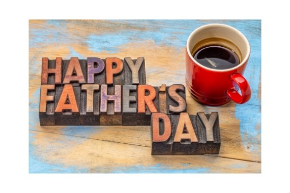 Happy Father's Day with a mug full of coffee