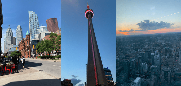 three photos of Toronto buildings, the CN tower and skyline from above