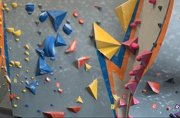 an indoor rock climbing wall
