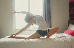 Morning stretching before running