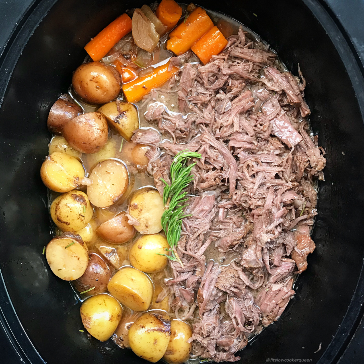 A homemade balsamic dijon sauce is used to jazz up this simple slow cooker pot roast recipe. Whole30 and paleo, this is not your average roast.