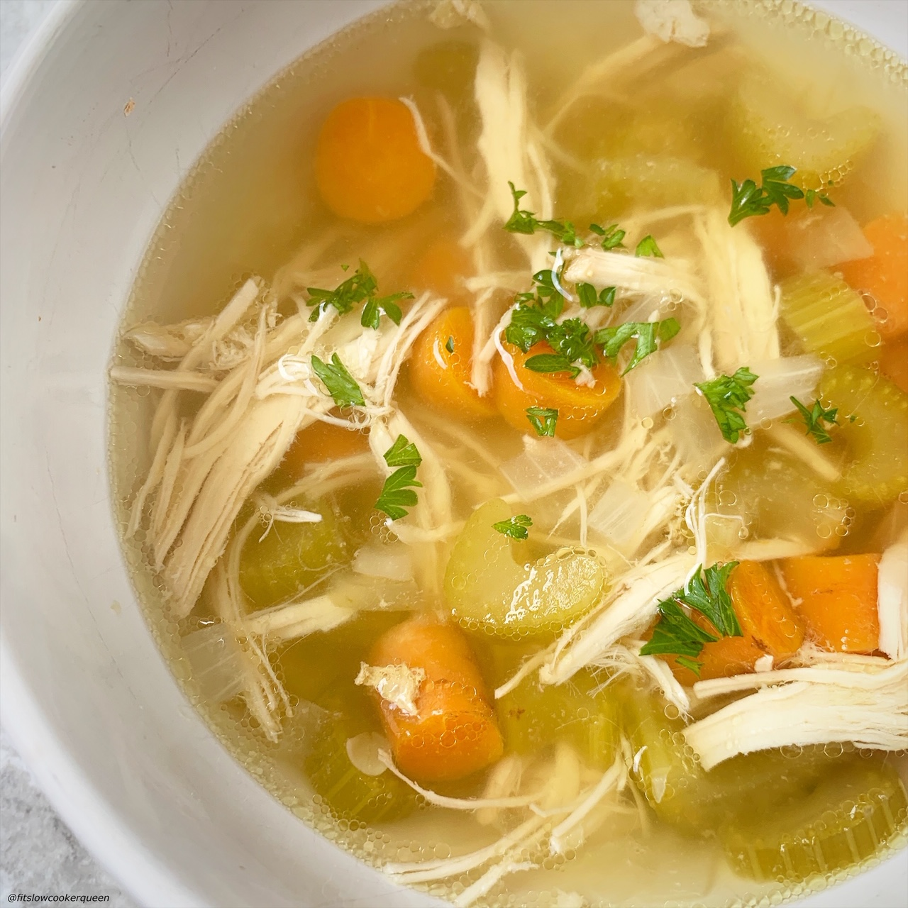 close up of the bowl of chicken soup