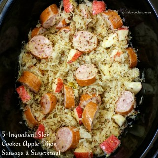 5-Ingredient Slow Cooker Apple-Dijon Sausage & Sauerkraut (Paleo, Whole30, Low-Carb)