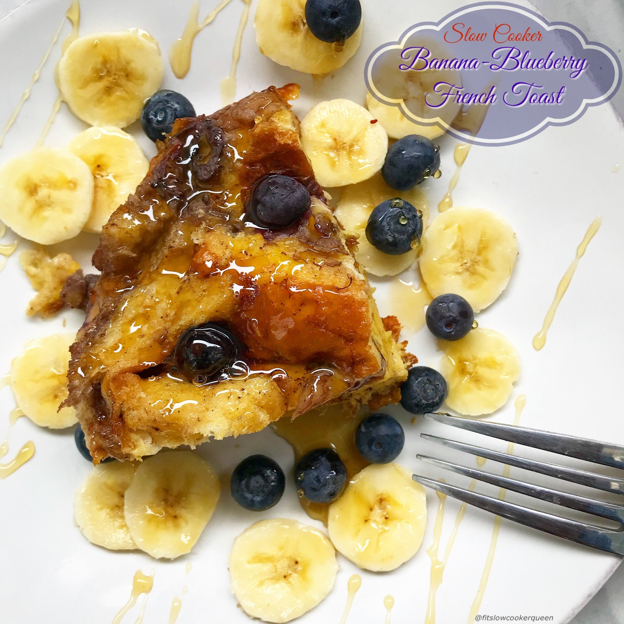 This French toast made with bananas and blueberries cooks overnight in the slow cooker. Wake up to an aromatic kitchen and fluffy breakfast meal that's sure to impress.