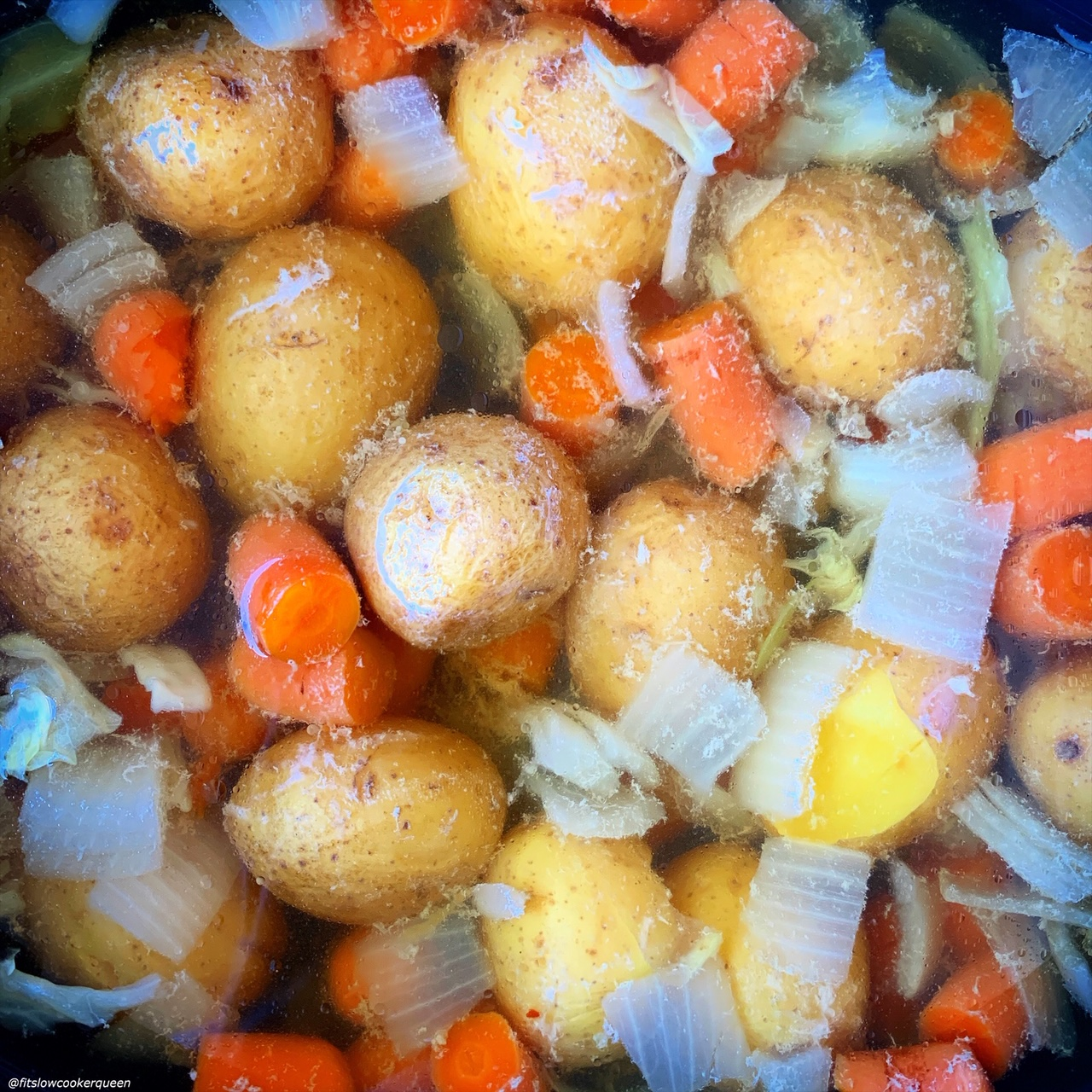 cooked potatoes, carrots & onions