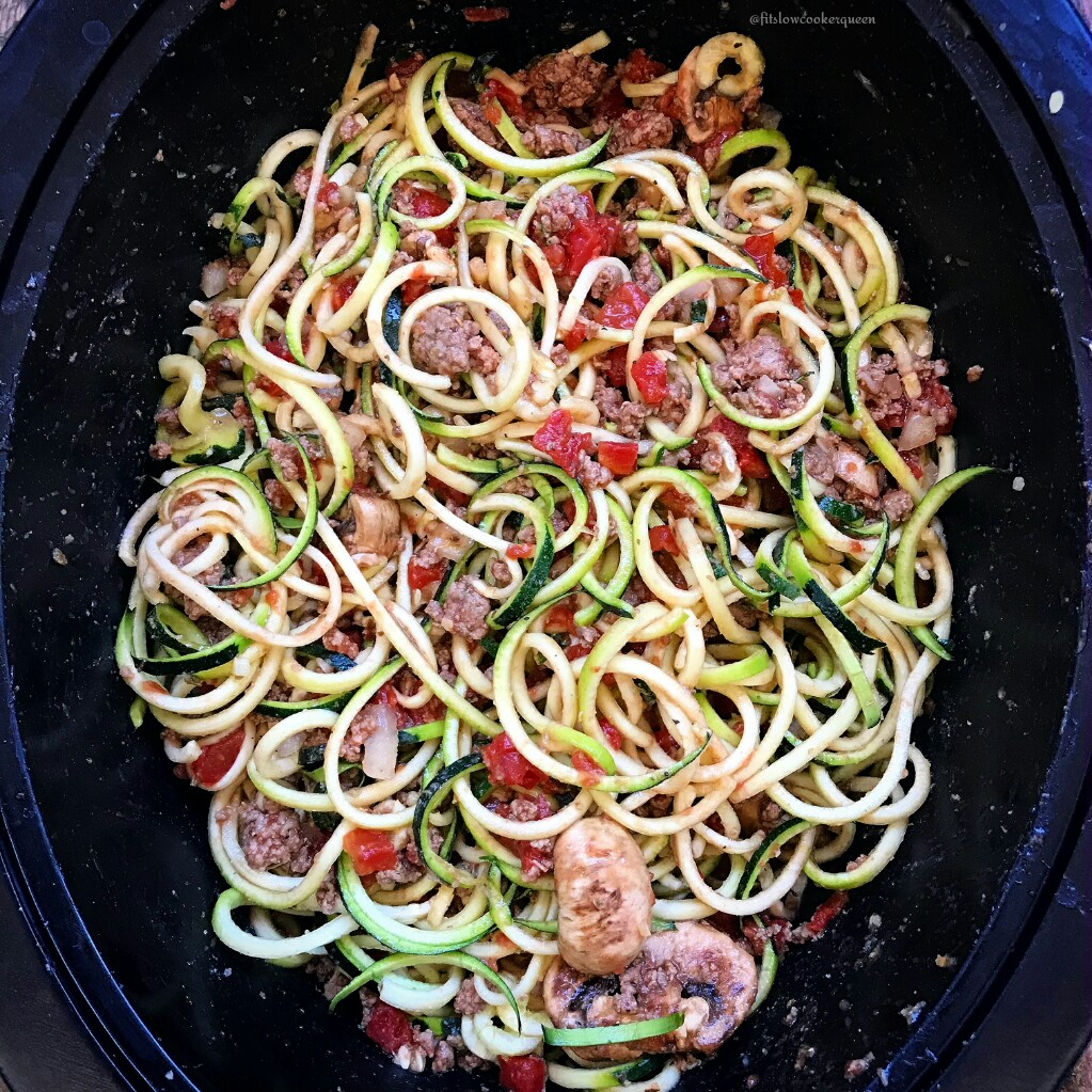 Slow Cooker Zoodles with Meat Sauce (PaleoWhole30)