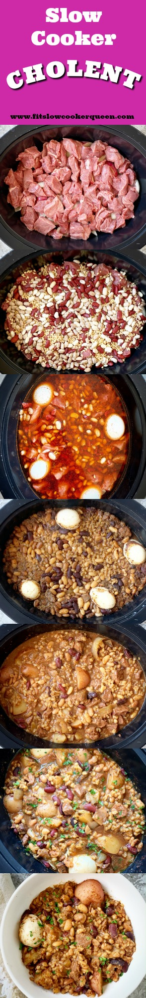another pinterest pin for Slow Cooker Cholent