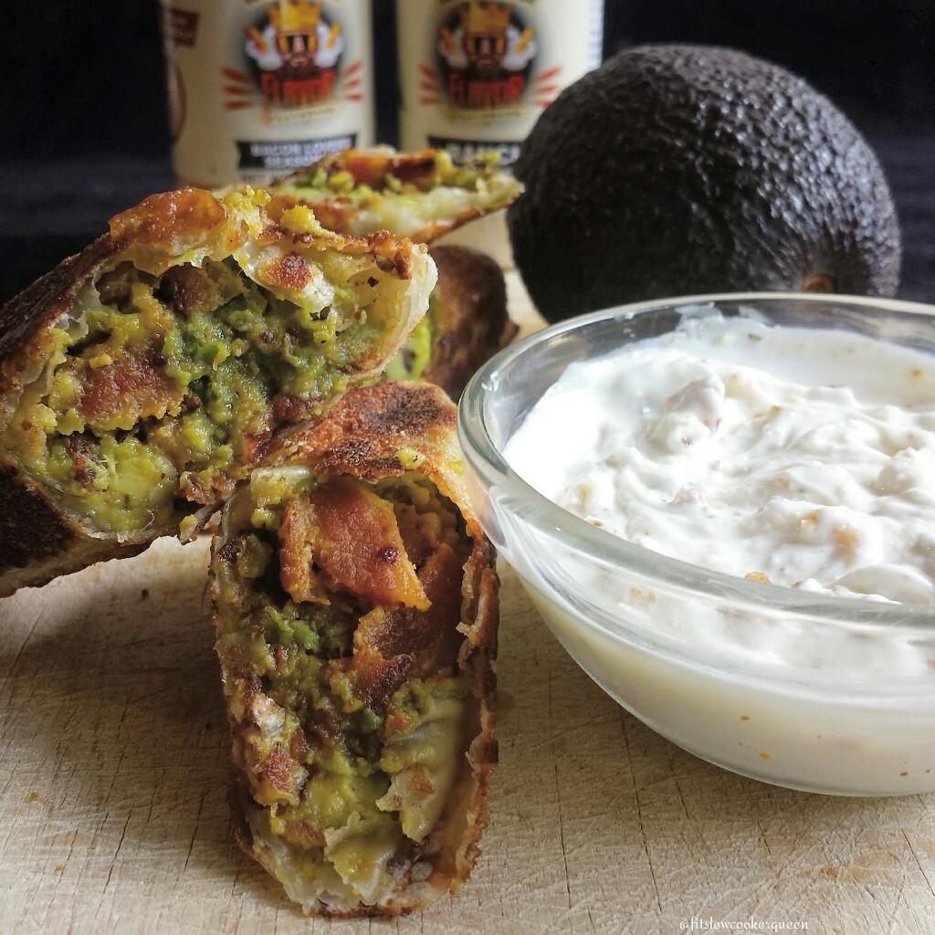 Bacon Avocado Egg Rolls & Greek Yogurt Dip w/Ranch
