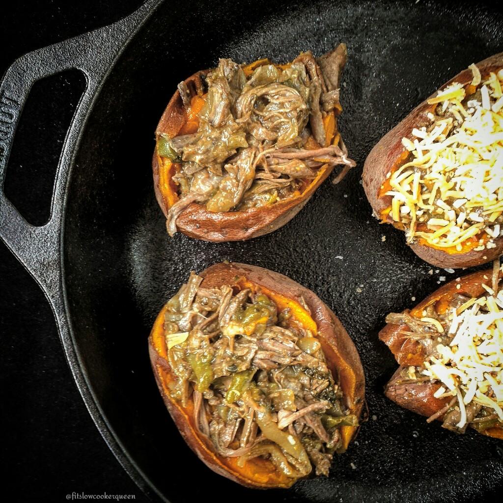 Slow Cooker Carne Asada Stuffed Sweet Potatoes