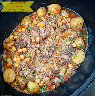 Moroccan flavors slow cook with beef or lamb in this aromatic and flavorful roast recipe. Make this in your slow cooker or Instant Pot cover