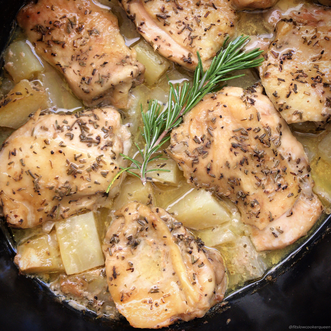 A homemade rosemary dijon sauce cooks on top of chicken and your preferred potato in this easy and healthy slow cooker recipe.