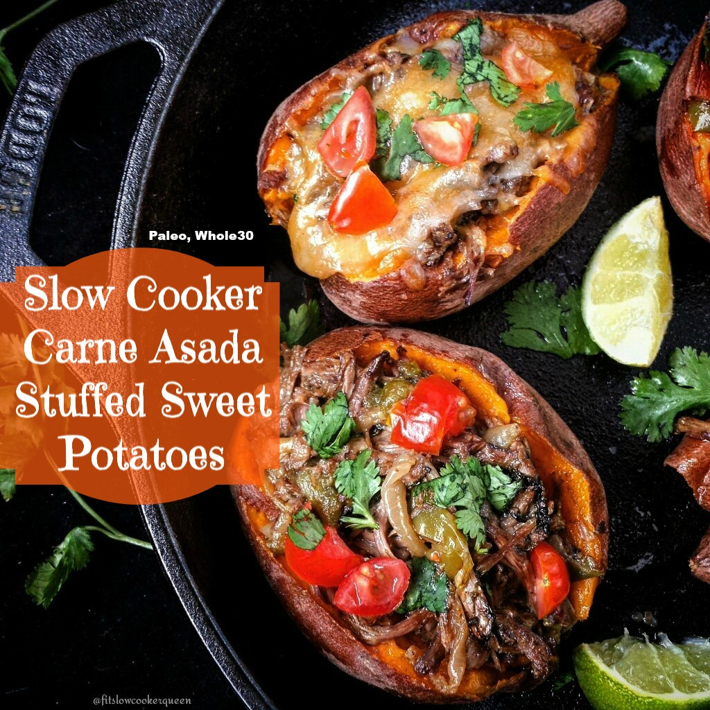 Carne Asada isn't just for tacos. If you're looking for a different, healthy option, try stuffing them into sweet potatoes. All cooked in the slow cooker of course.