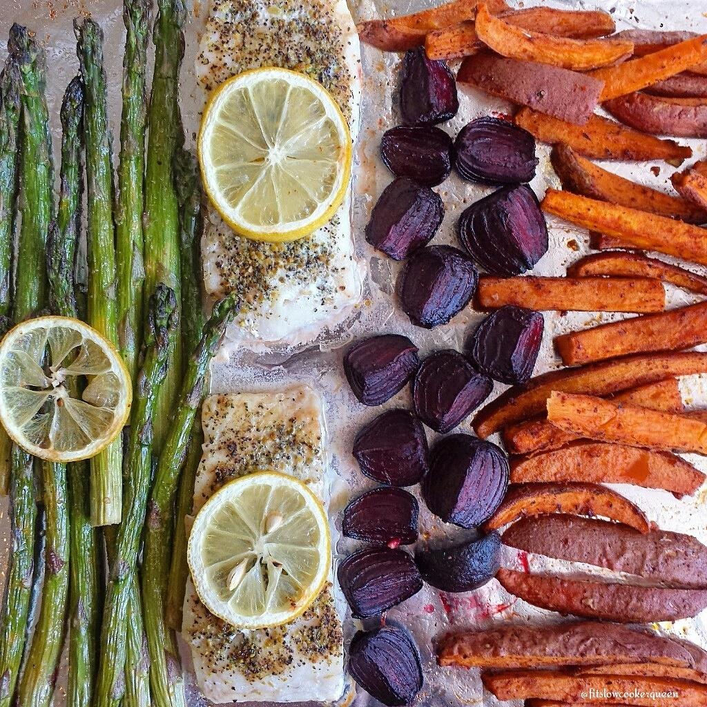 One-pan Fish, Veggies & Sweet Potatoes