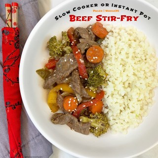 Healthy beef stir-fry made in the slow cooker or Instant Pot! Thispaleo, whole30, and gluten-free recipe is healthy but still has the flavors of your take-out.