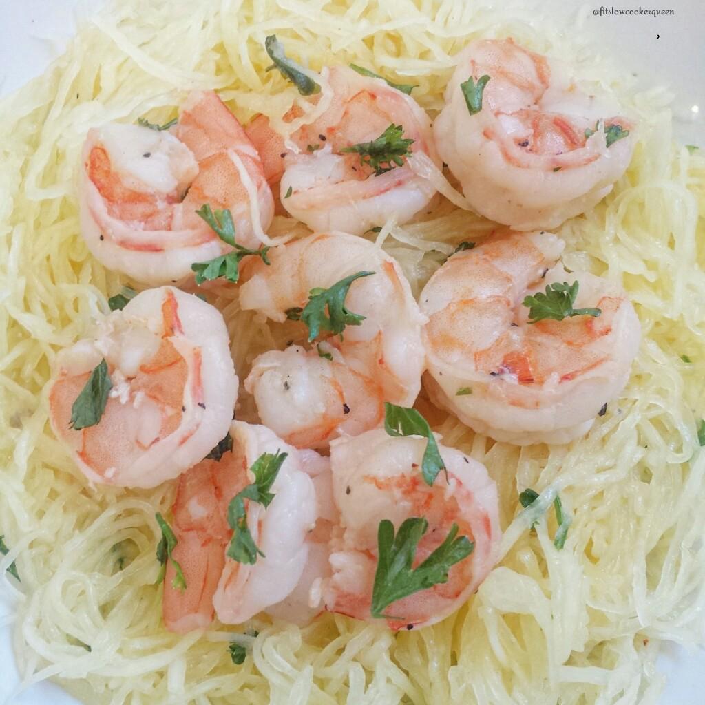 Skinny Spaghetti Squash Shrimp Scampi