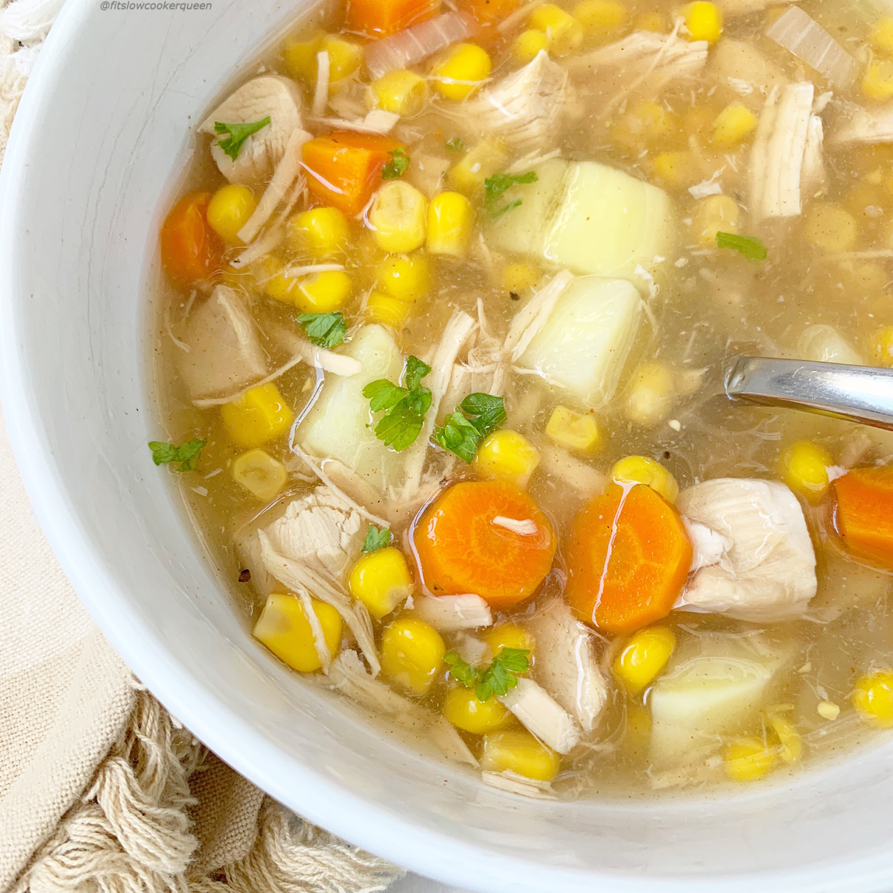 Whether it's Thanksgiving or not, toss your leftover turkey in the slow cooker or Instant Pot for this easy turkey corn chowder recipe (3)