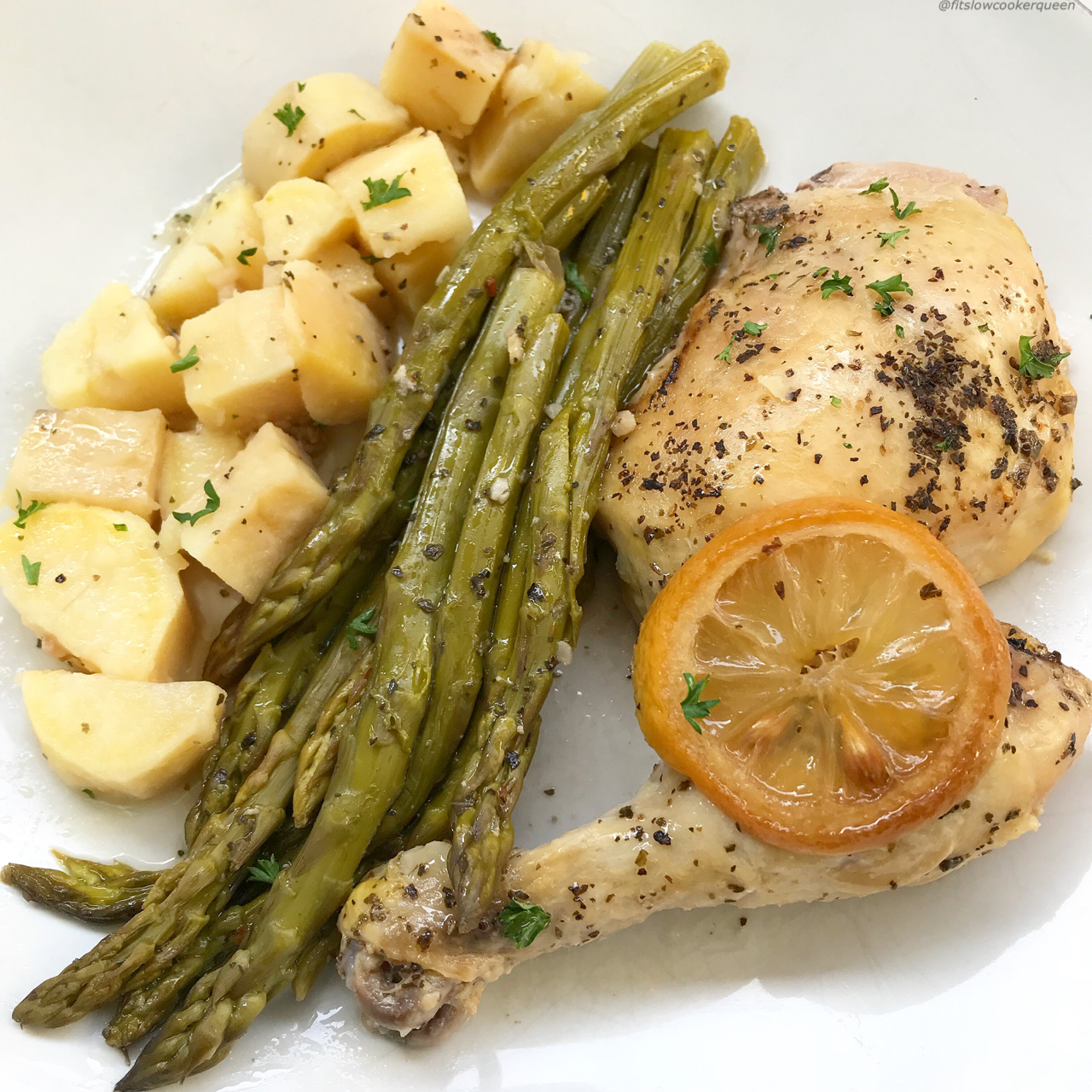 A light, homemade lemon-garlic sauce accompanies any cut of chicken, potatoes or sweet potatoes, and your favorite vegetable for this flavorful whole30 and paleo slow cooker recipe.