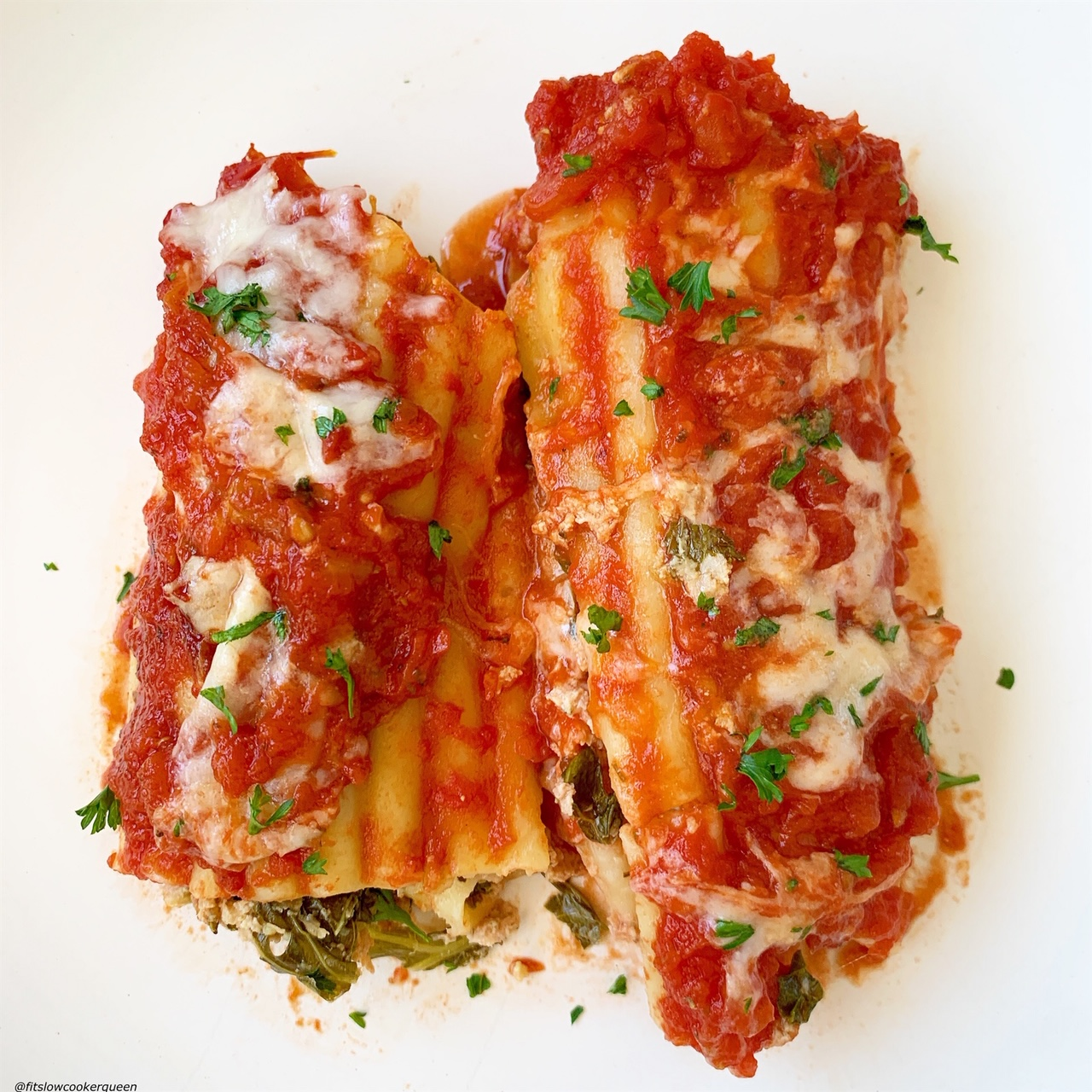 plated pic of slow cooker or instant pot stuffed manicotti