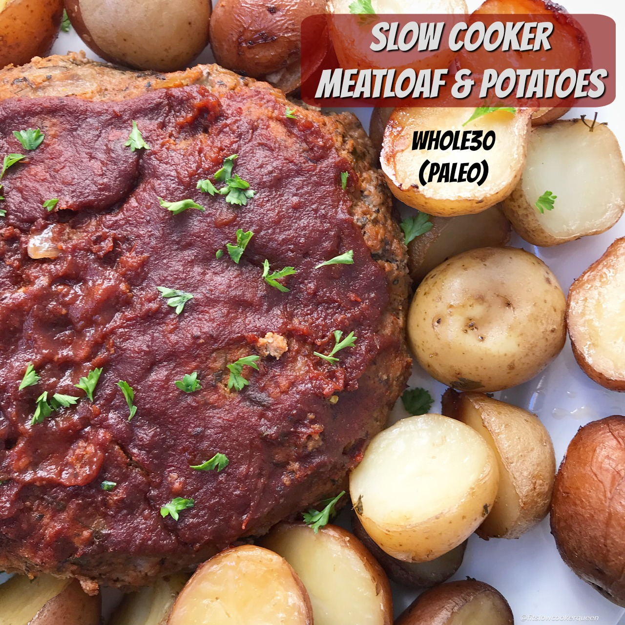 This whole30 meatloaf (paleo option too) and potato recipe is made in the slow cooker for an easy meal the entire family will enjoy.