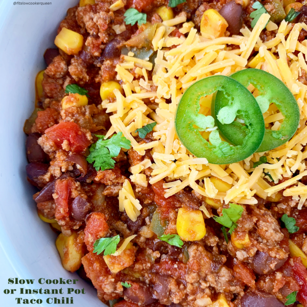 Your favorite taco flavors in a chili! Using simple ingredients including a homemade seasoning, this slow cooker or Instant Pot recipe is easy & healthy.