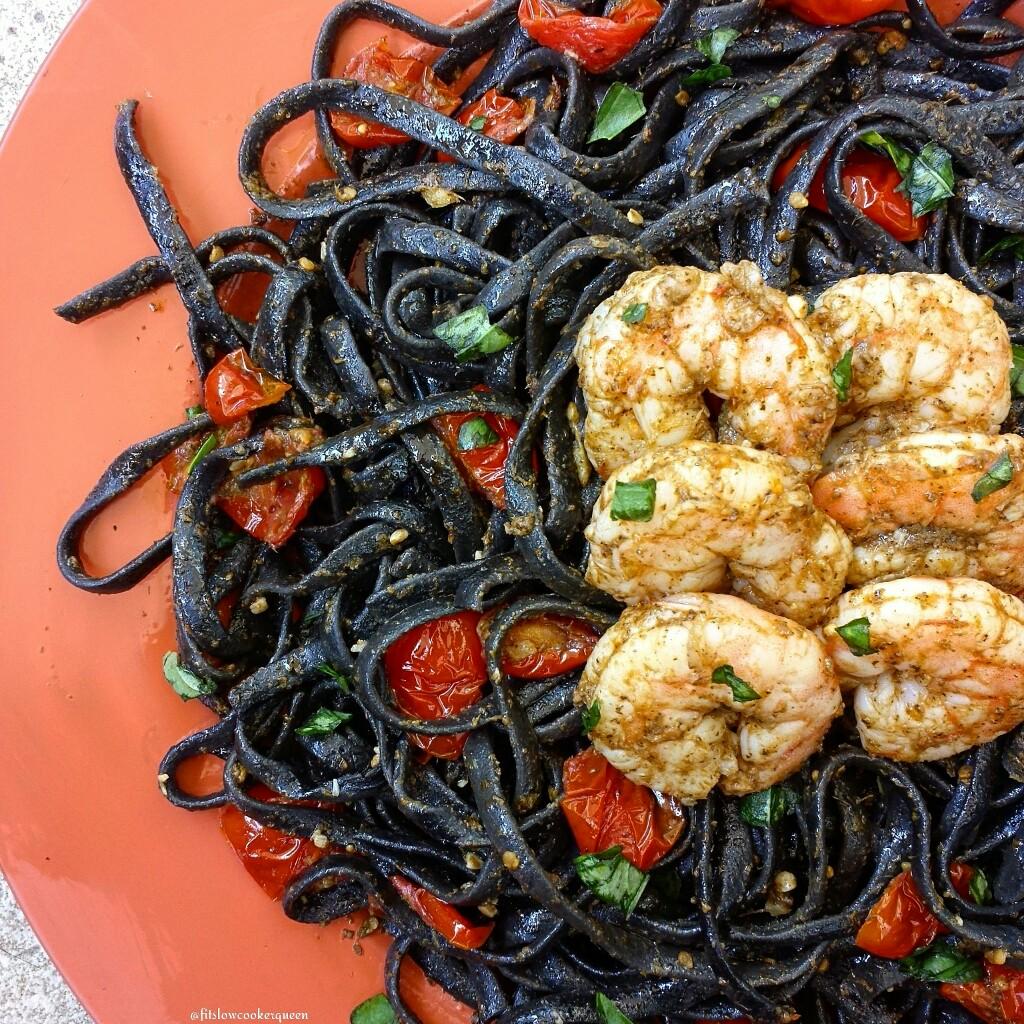 Black Squid Pasta w/Thai Basil Garlic Shrimp