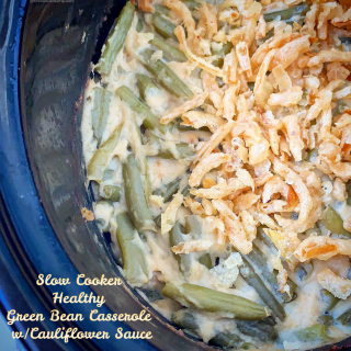 Healthy green bean casserole! Fresh green beans & a homemade cauliflower sauce replace canned items in this healthy spin on a holiday classic