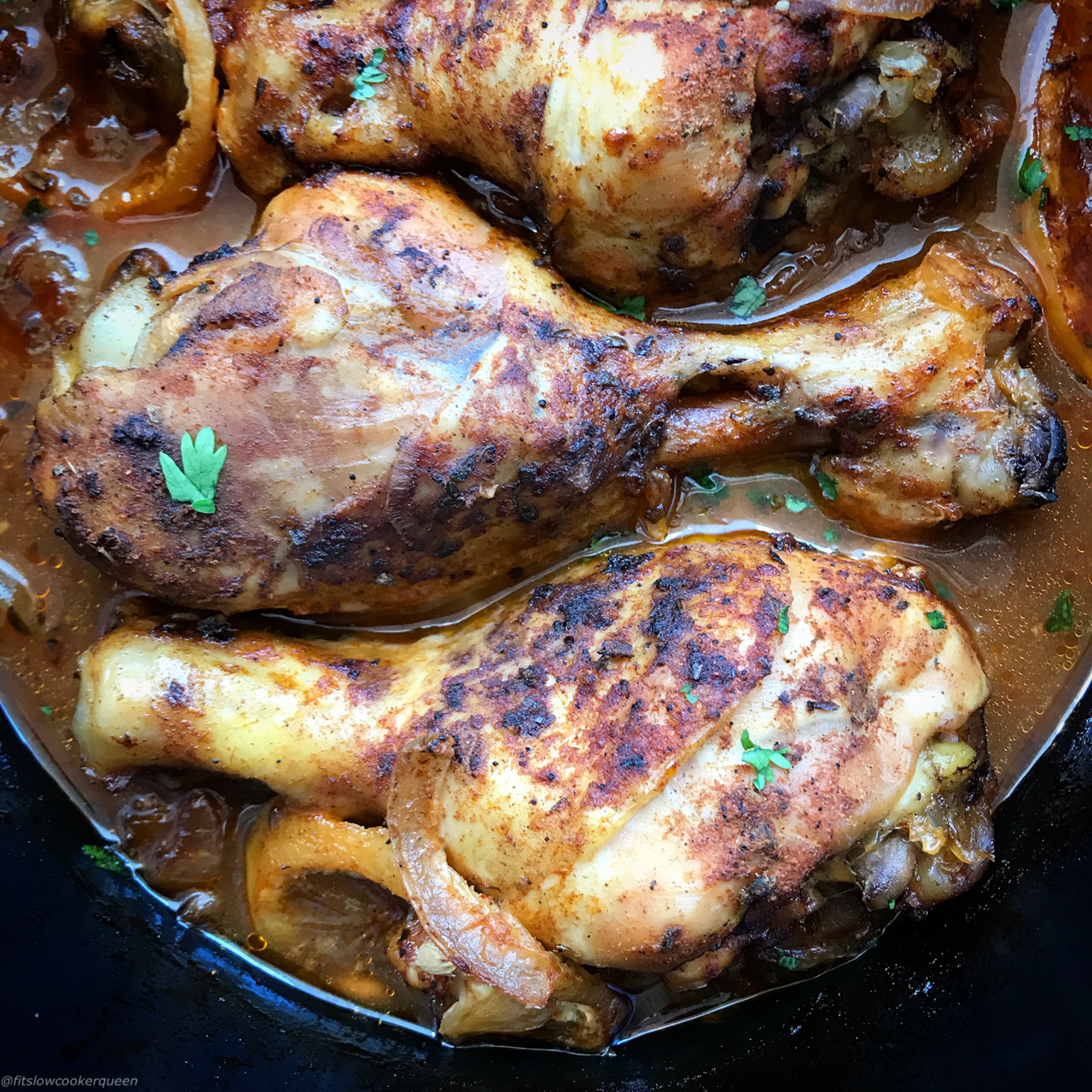 Piri-piri chicken is a perfect dish for the slow cooker. A homemade spicy marinade cooks with chicken in this healthy version of an Portuguese classic.